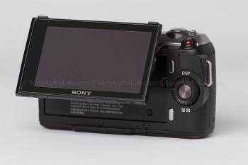 Sony Nex-C3 with 18-55mm lens - Back with the screen up/out