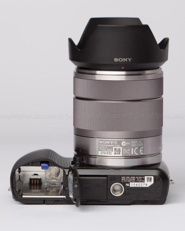 Sony Nex-C3 with 18-55mm lens - Battery door open