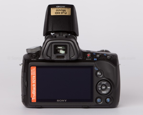 Sony Alpha 35 - Flash Up - Back View