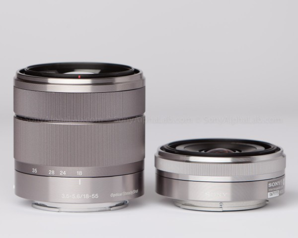 Sony 16mm f/2.8 E-Mount Lens Next to the Sony 18-55mm E-Mount Lens