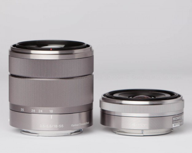Sony E-Mount 18-55mm f/3.5-5.6 Zoom Lens next to the 16mm f/2.8 Pancake lens