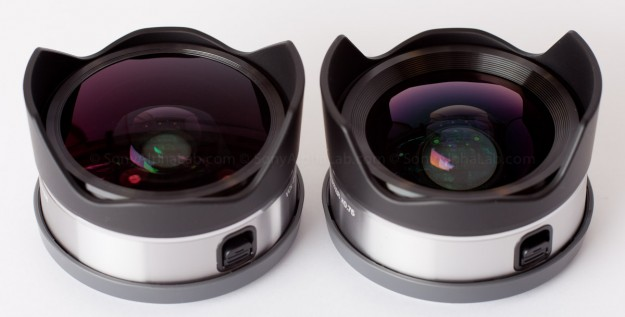 Left - VCL-ECF1 E-Mount Fisheye Conversion Lens   Right - Sony VCL-ECU1 18mm E-Mount Wide Angle Conversion Lens