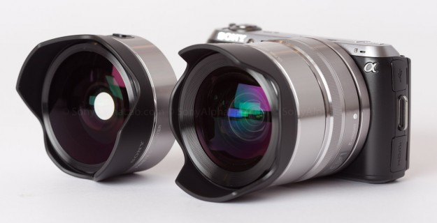 Nex-C3 w/ 16mm and 18mm Wide Angle Converter Lens Mounted. Fisheye to the left