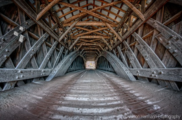Livingston Manor Covered Bridge - HDR using 4 exposure's - Nex-7 w/ Rokinon 8mm Fisheye Lens