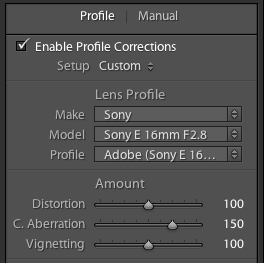 Lightroom 3 - Lens Profile Correction enabled