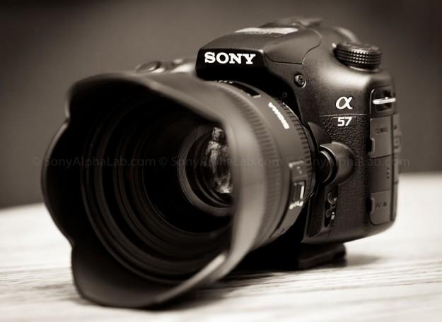 Sony A57 w/ Sigma 50mm f/1.4 EX DG HSM Lens - 3/4 View