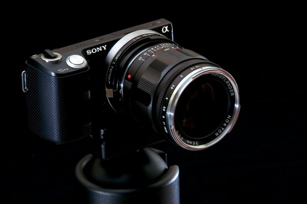 Sony NEX-5N with Voigtländer 35/1.2 v2 and a Hawk's Factory helicoid adapter.