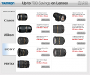 Tamron Lens Rebates for Sony