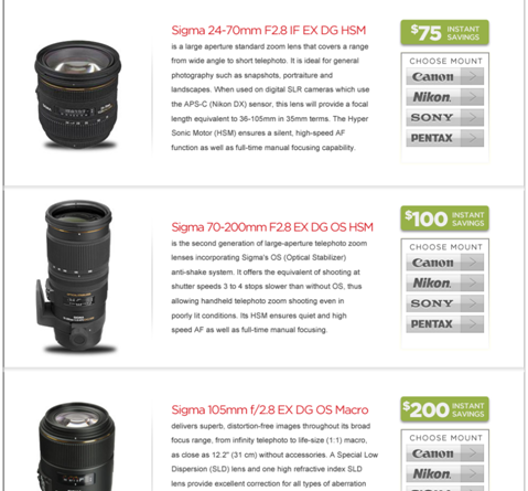 Sigma lens rebates for Sony