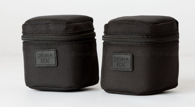 Sigma E-Mount 30mm and 19mm f/2.8 EX DN lenses in provided Padded lens Pouch
