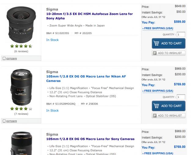 Sigma Sony Lens Rebates!!
