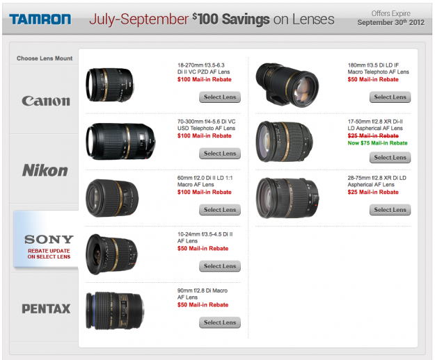 Increased Tamron Rebates