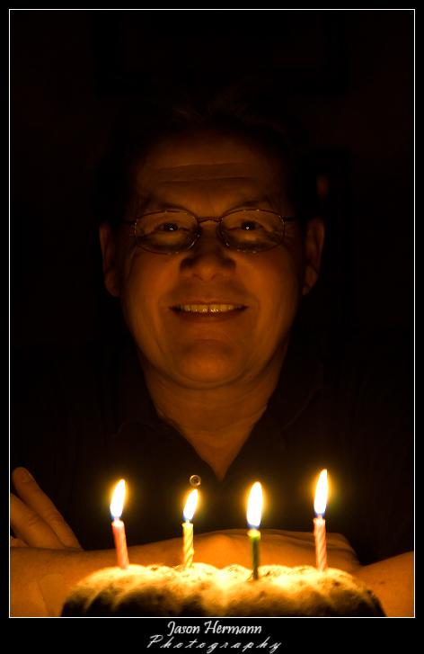 My Dad on his B-Day Upward Candle Light Source