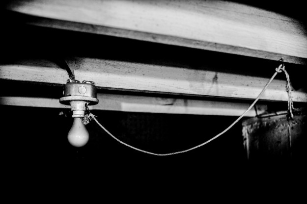 light bulb in black and white