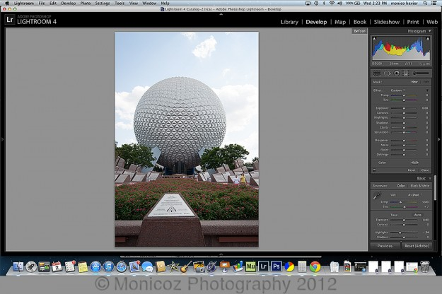 A Disney World shot open in Lightroom