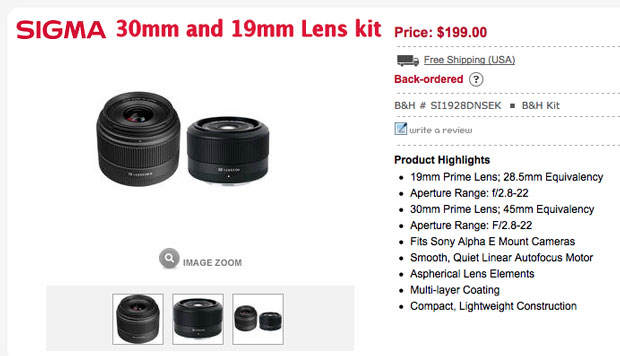 Sigma 19 and 30mm Lens Deal at BHPhoto