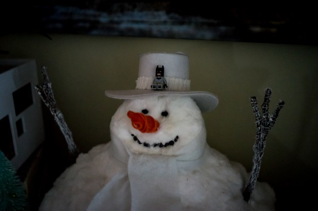 Snowman in low light