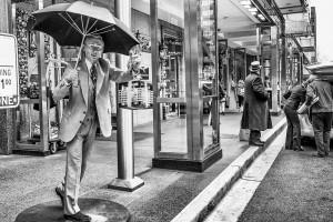 """Flexible spot focus to get the """"umbrella man"""" in focus."""