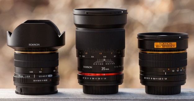 Rokinon A-Mount 14mm, 35mm, and 85mm