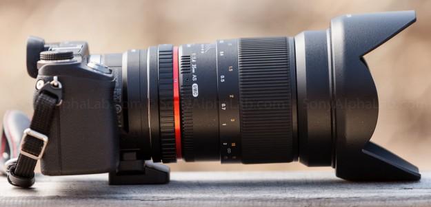 Rokinon 35mm f/1.4 UMC Aspherical lens mounted to Nex-6