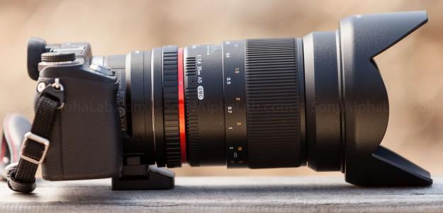 Rokinon 35mm f/1.4 UMC Aspherical lens mounted to Nex-6 w/ LA-EA1 Lens Adapter