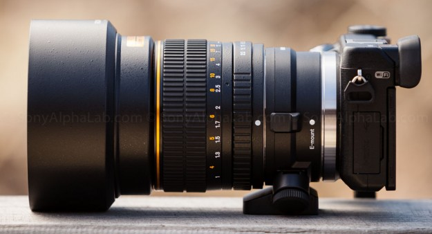 Rokinon 85mm f/1.4 Aspherical lens mounted to Nex-6 w/ LA-EA1 Lens Adapter