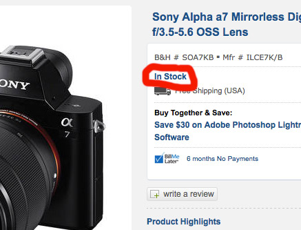 sony-a7-in-stock @ BHPhoto