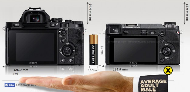Sony A7 vs Sony Nex-6 - Back