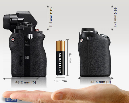 Sony A7 vs Sony Nex-6 - Grip side