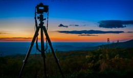 Tripod set up to capture a sunrise