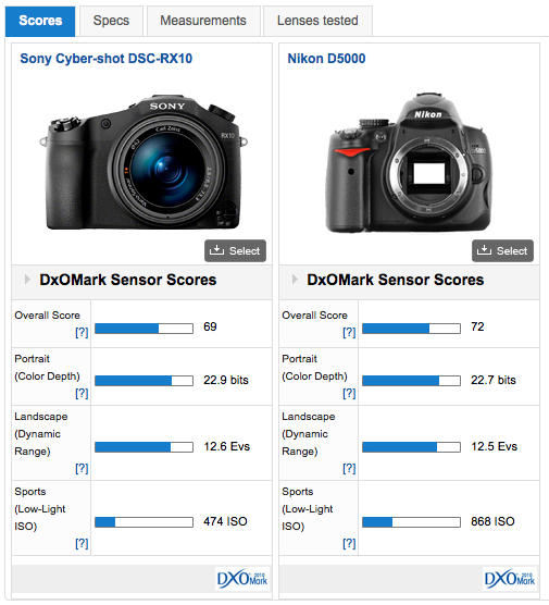 Sony rx10 vs Nikon D5000