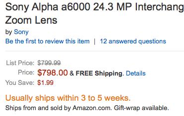 Sony A6000 @ Amazon