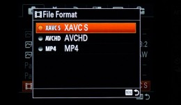 Sony A7s Menu - File Format