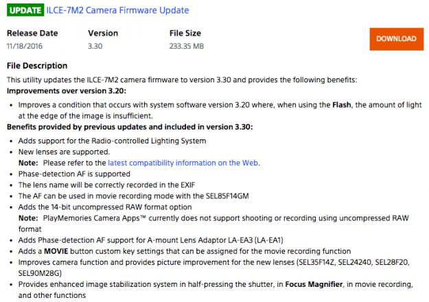 Sony A7 II Firmware Update